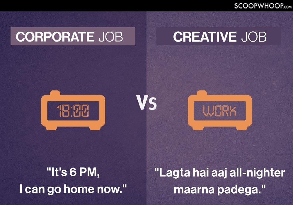 corporate vs creative jobs
