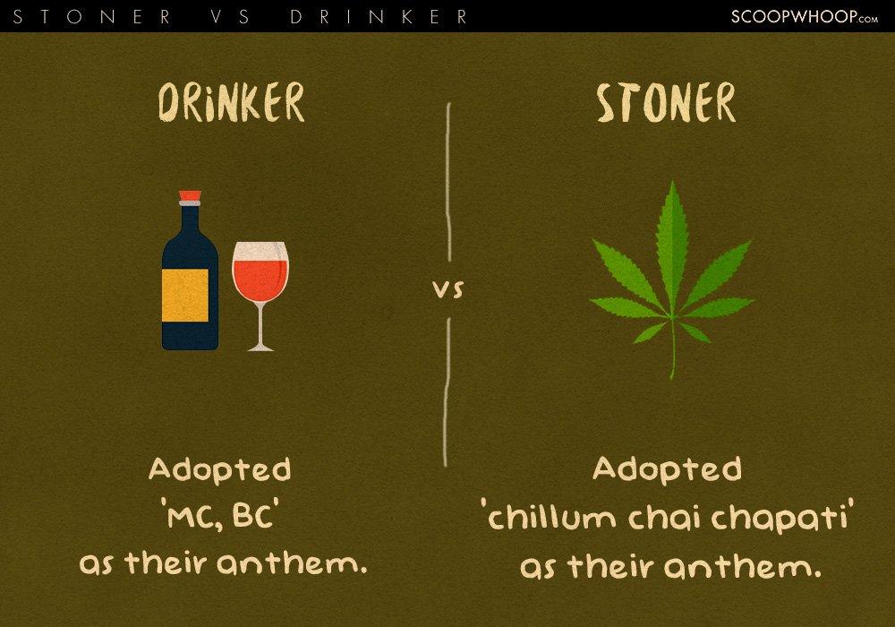 drinkers vs stoners