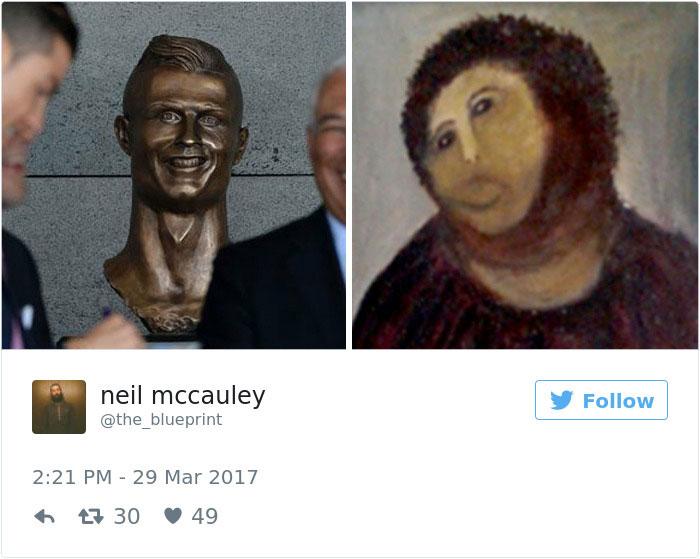 funny cristiano ronaldo statue fail