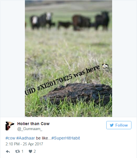 twitter reacts on adhaar for cattle